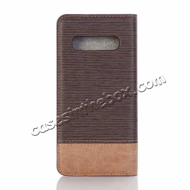 discount Cross Two-Colored Stand Leather Case For Samsung Galaxy S10e - Coffee