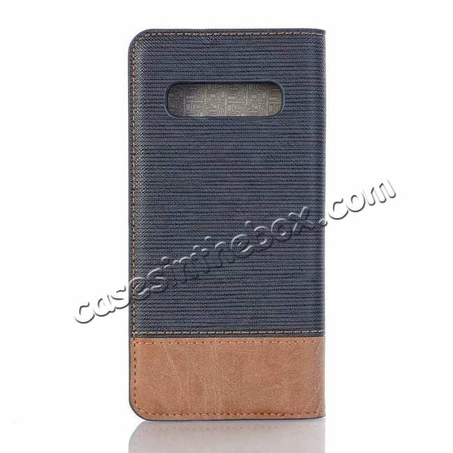 discount Cross Two-Colored Stand Leather Case For Samsung Galaxy S10e - Dark Blue