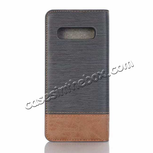 discount Cross Two-Colored Stand Leather Case For Samsung Galaxy S10e - Dark Grey