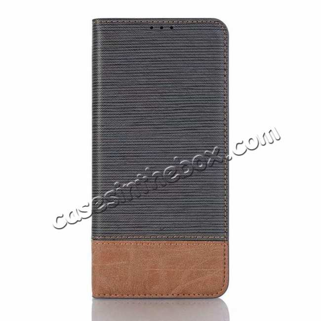 top quality Cross Two-Colored Stand Leather Case For Samsung Galaxy S10e - Dark Grey