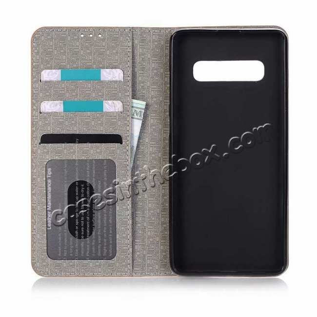 best price Cross Two-Colored Stand Leather Case For Samsung Galaxy S10e - Dark Grey