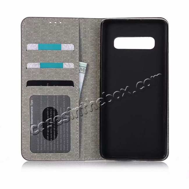 top quality For Samsung Galaxy S10 Cross Pattern Flip Leather Case - Coffee