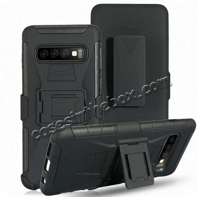 discount For Samsung Galaxy S10 Plus Black Heavy Duty Armor Stand Combo Holster Cover Phone Case - Black
