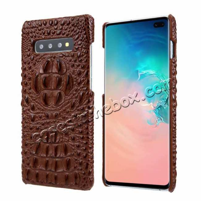 wholesale For Samsung Galaxy S10 Plus Crocodile Head Pattern Genuine Leather Back Case Cover - Brown