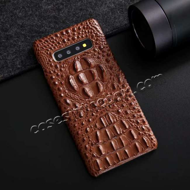 discount For Samsung Galaxy S10 Plus Crocodile Head Pattern Genuine Leather Back Case Cover - Brown