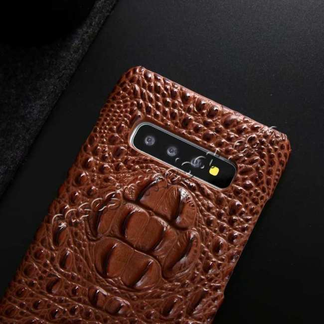 best price For Samsung Galaxy S10 Plus Crocodile Head Pattern Genuine Leather Back Case Cover - Brown