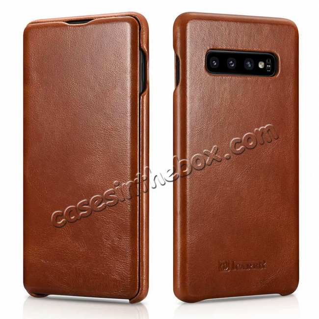 wholesale For Samsung Galaxy S10 Plus ICARER Curved Edge Vintage Series Genuine Leather Flip Case - Brown
