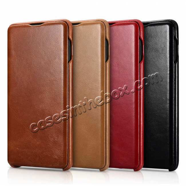 top quality For Samsung Galaxy S10 Plus ICARER Curved Edge Vintage Series Genuine Leather Flip Case - Brown