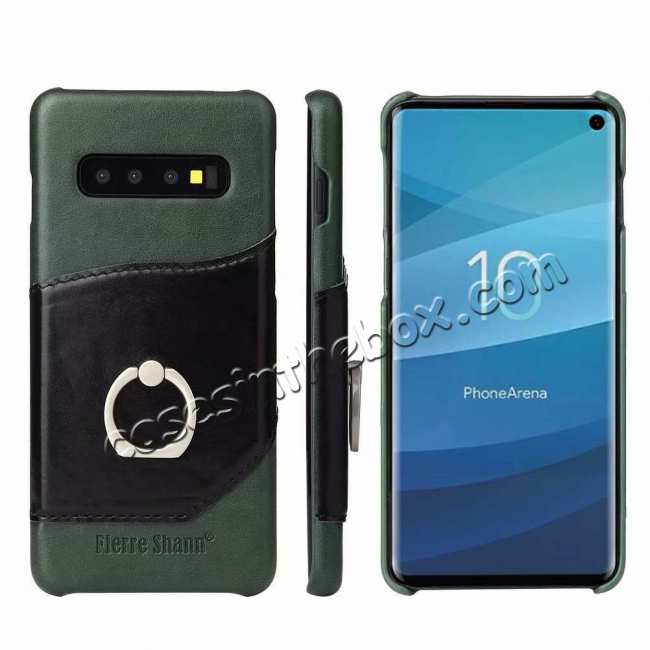 wholesale For Samsung Galaxy S10 Plus Ring Holder Kickstand Genuine Leather Case - Green