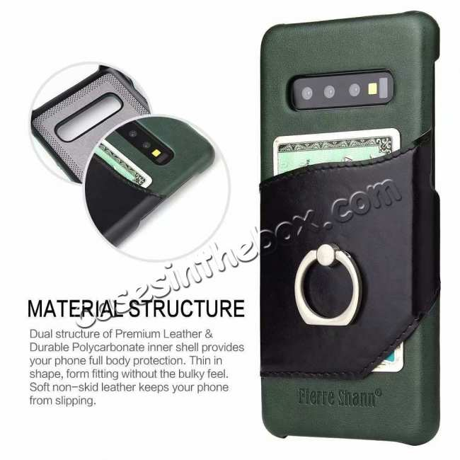 top quality For Samsung Galaxy S10 Plus Ring Holder Kickstand Genuine Leather Case - Green