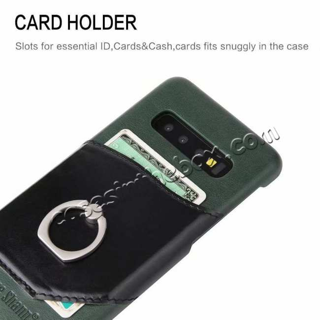 best price For Samsung Galaxy S10 Plus Ring Holder Kickstand Genuine Leather Case - Green