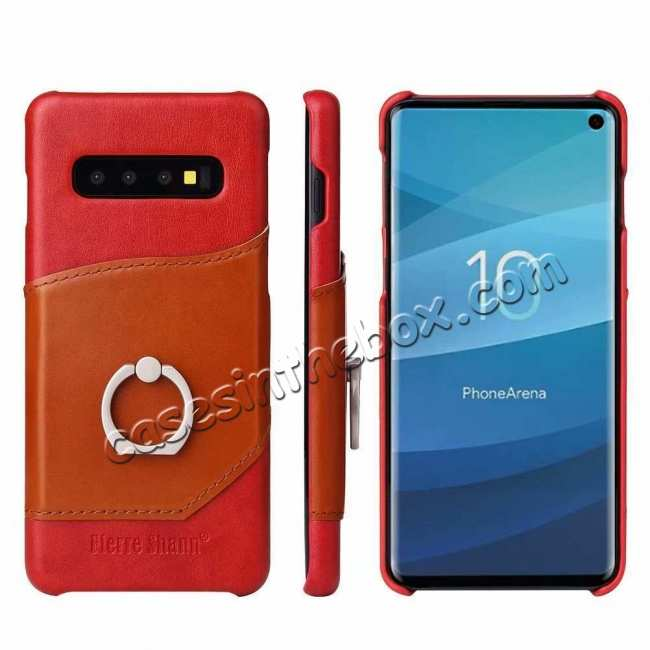 wholesale For Samsung Galaxy S10 Plus Ring Holder Kickstand Genuine Leather Case - Red