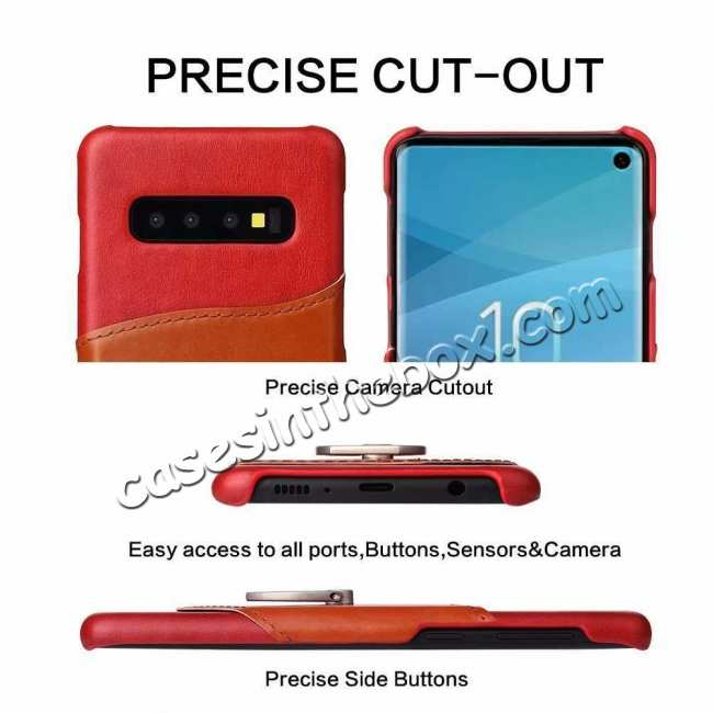 discount For Samsung Galaxy S10 Plus Ring Holder Kickstand Genuine Leather Case - Red