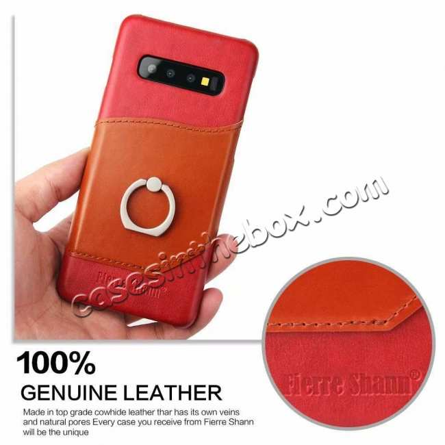 cheap For Samsung Galaxy S10 Plus Ring Holder Kickstand Genuine Leather Case - Red