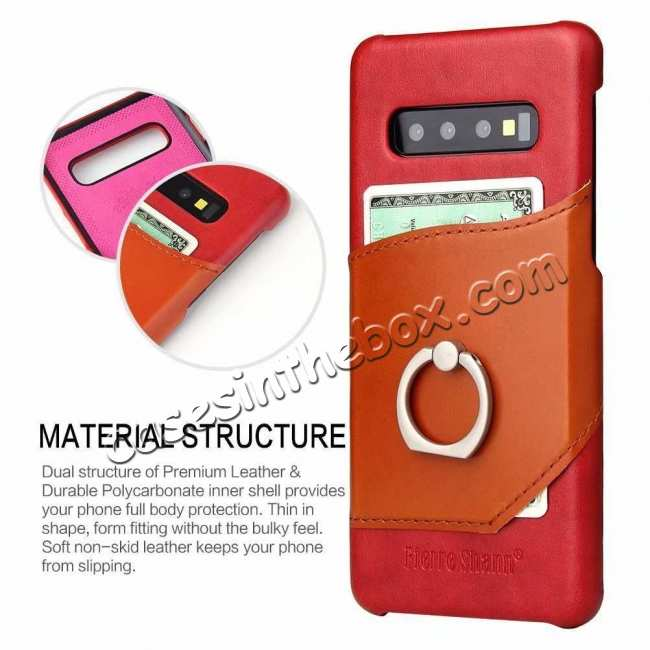 top quality For Samsung Galaxy S10 Plus Ring Holder Kickstand Genuine Leather Case - Red