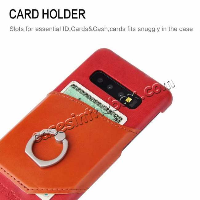 best price For Samsung Galaxy S10 Plus Ring Holder Kickstand Genuine Leather Case - Red