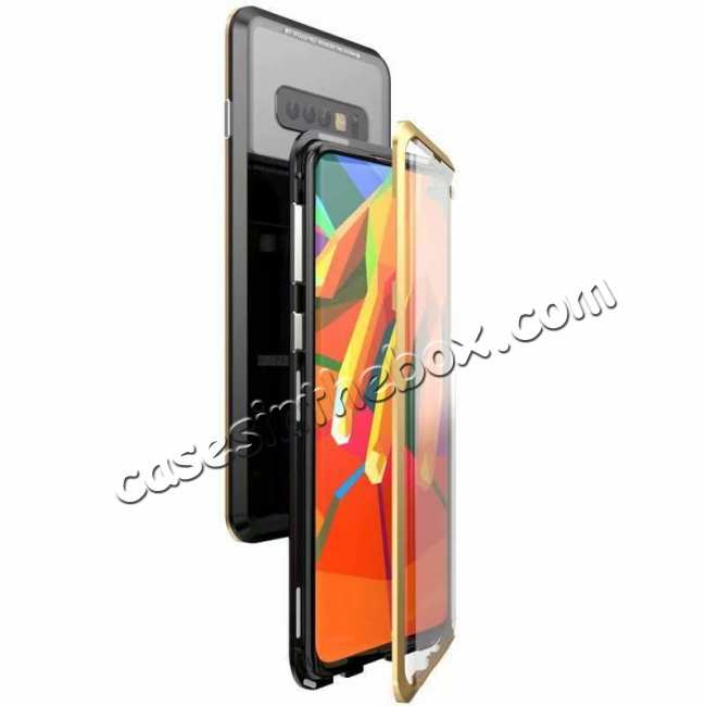 wholesale For Samsung Galaxy S10e 360 Protection Magnetic Metal Tempered Glass Case - Black&Gold