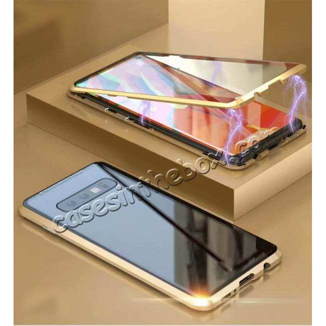 discount For Samsung Galaxy S10e 360 Protection Magnetic Metal Tempered Glass Case - Gold