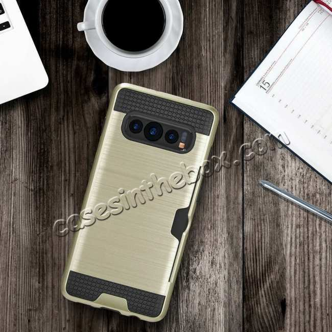 best price For Samsung Galaxy S10E Case Card Holder Slot Shockproof Dual Layer Brush Matte Cover - Gold