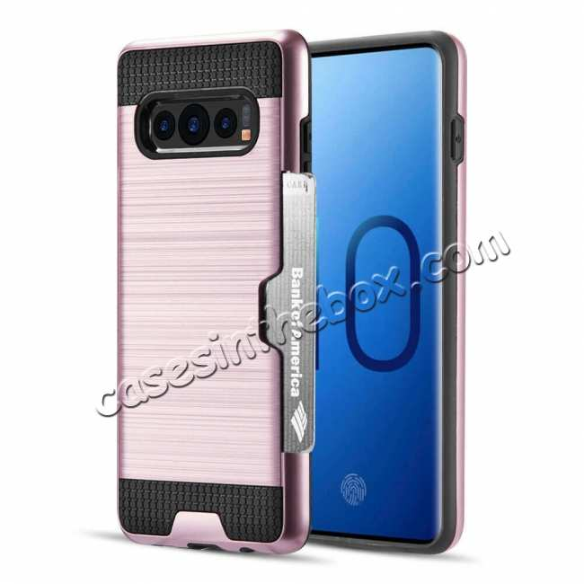 wholesale For Samsung Galaxy S10E Case Card Holder Slot Shockproof Dual Layer Brush Matte Cover - Rose Gold