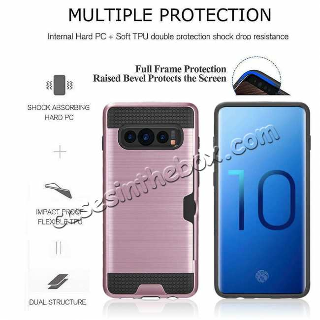 discount For Samsung Galaxy S10E Case Card Holder Slot Shockproof Dual Layer Brush Matte Cover - Rose Gold