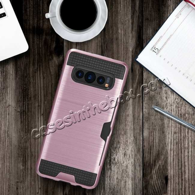 best price For Samsung Galaxy S10E Case Card Holder Slot Shockproof Dual Layer Brush Matte Cover - Rose Gold