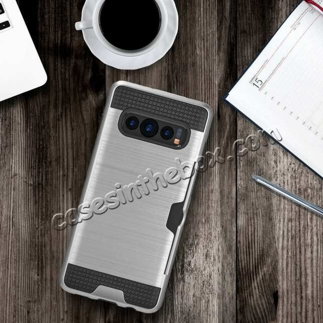 best price For Samsung Galaxy S10E Case Card Holder Slot Shockproof Dual Layer Brush Matte Cover - Silver