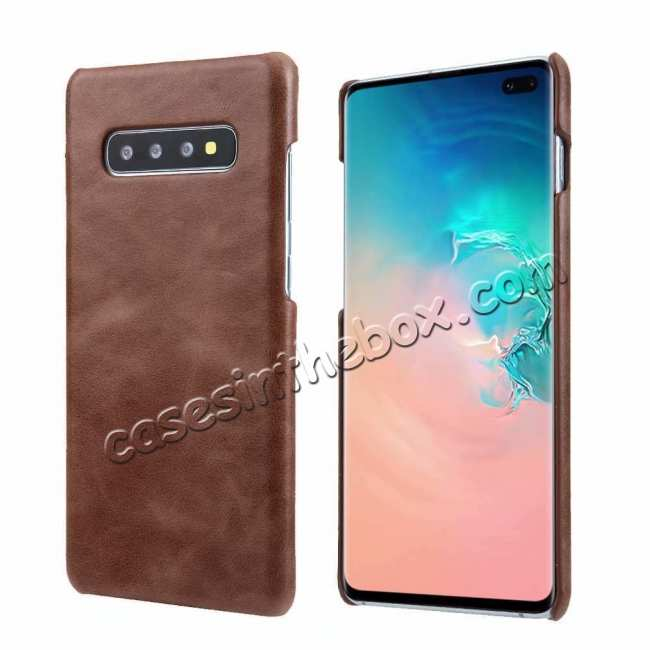 wholesale Genuine Leather Matte Back Case Cover for Samsung Galaxy S10 Plus - Dark Brown