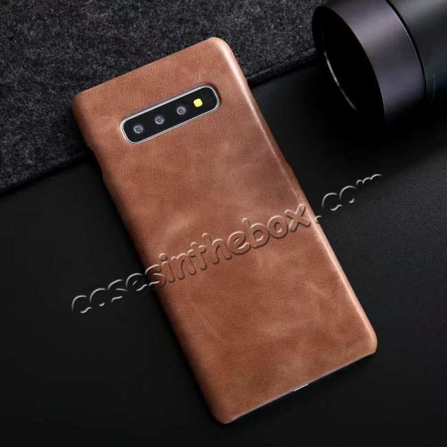 discount Genuine Leather Matte Back Case Cover for Samsung Galaxy S10 Plus - Dark Brown