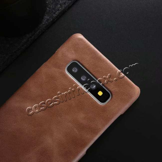best price Genuine Leather Matte Back Case Cover for Samsung Galaxy S10 Plus - Dark Brown