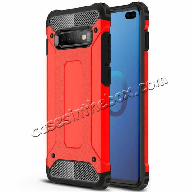 wholesale Hybrid Armor Case For Samsung Galaxy S10e Shockproof Rugged Bumper Cover - Red