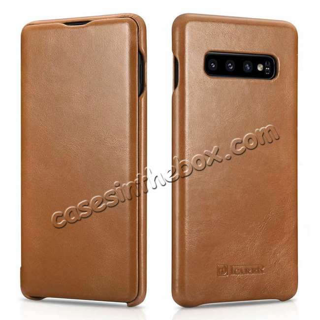 wholesale ICARER Vintage Case For Samsung Galaxy S10 Plus Flip Real Leather - Khaki