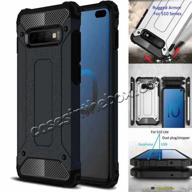 discount Luxury Hybrid Armor PC+TPU Protective Case Cover For Samsung Galaxy S10 Plus - Black
