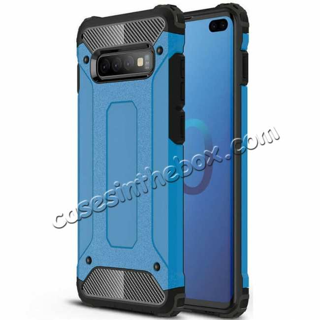 wholesale Luxury Hybrid Armor PC+TPU Protective Case Cover For Samsung Galaxy S10 Plus - Blue