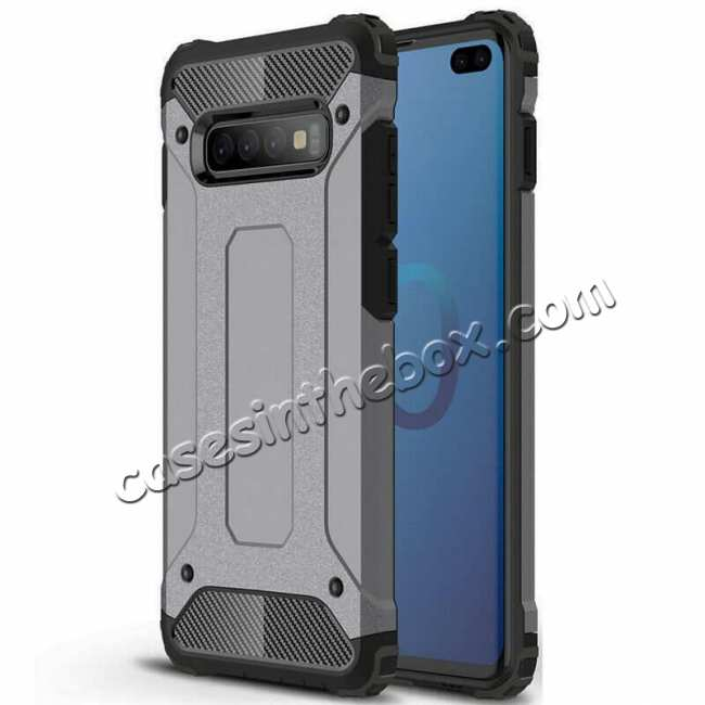 wholesale Luxury Hybrid Armor PC+TPU Protective Case Cover For Samsung Galaxy S10 Plus - Grey
