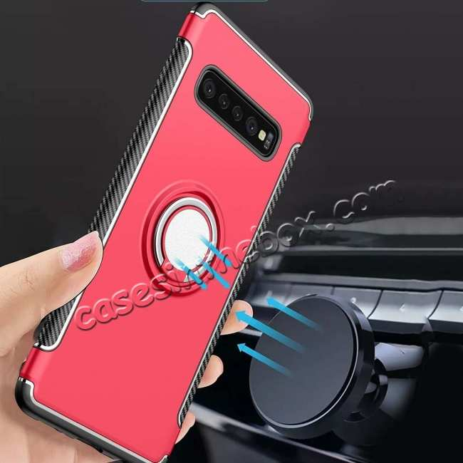 wholesale Magnetic Car Holder Ring Stand Case For Samsung Galaxy S10e - Red