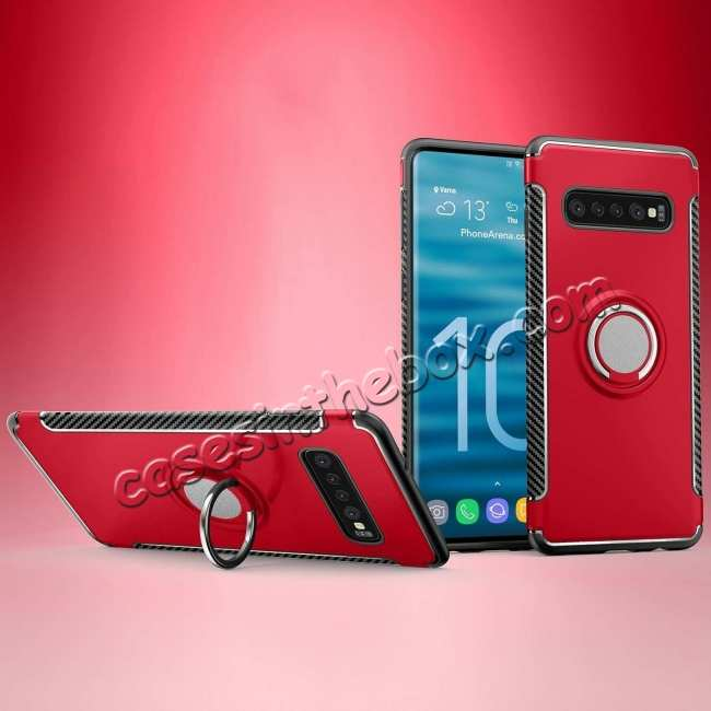 discount Magnetic Car Holder Ring Stand Case For Samsung Galaxy S10e - Red