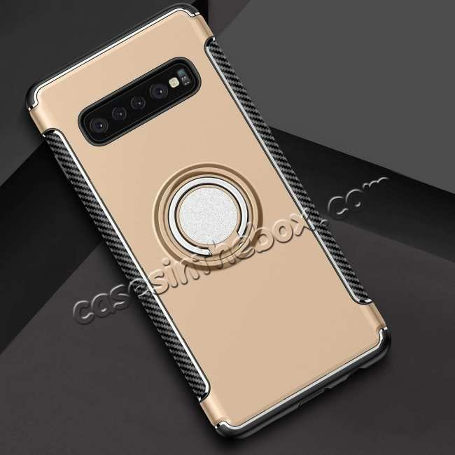 discount Magnetic Car Holder Ring Stand Soft TPU Case Cover for Samsung Galaxy S10 Plus - Gold