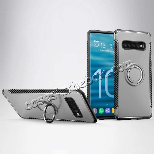 wholesale Magnetic Car Holder Ring Stand Soft TPU Case Cover for Samsung Galaxy S10 Plus - Grey