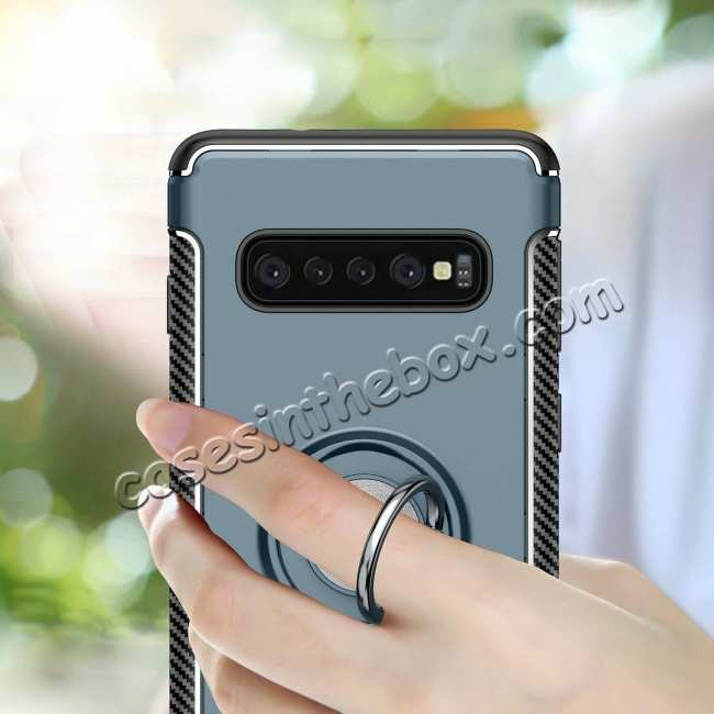 discount Magnetic Car Holder Ring Stand Soft TPU Case Cover for Samsung Galaxy S10 Plus - Grey