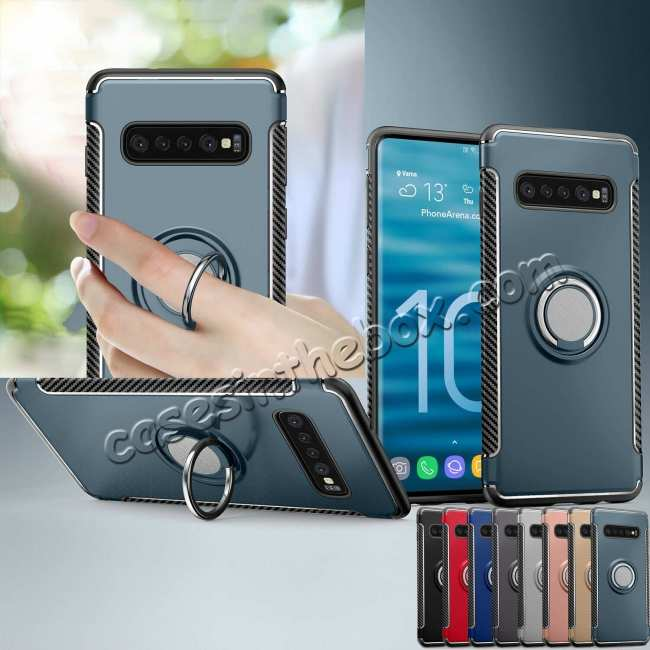 best price Magnetic Car Holder Ring Stand Soft TPU Case Cover for Samsung Galaxy S10 Plus - Grey