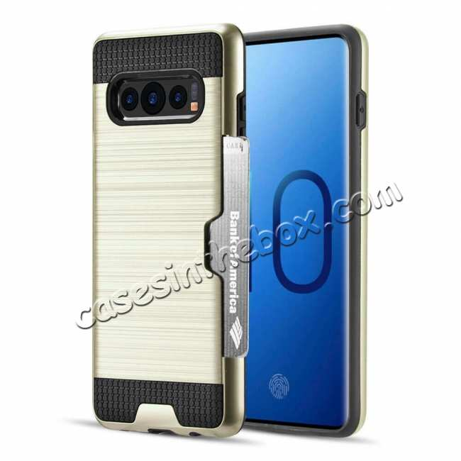 wholesale New Brush Hard Hybrid 2-Layer Case with Card Slot For Samsung Galaxy S10 Plus - Gold
