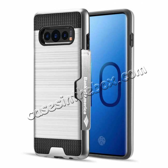 wholesale New Brush Hard Hybrid 2-Layer Case with Card Slot For Samsung Galaxy S10 Plus - Silver