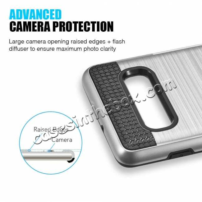 cheap New Brush Hard Hybrid 2-Layer Case with Card Slot For Samsung Galaxy S10 Plus - Silver