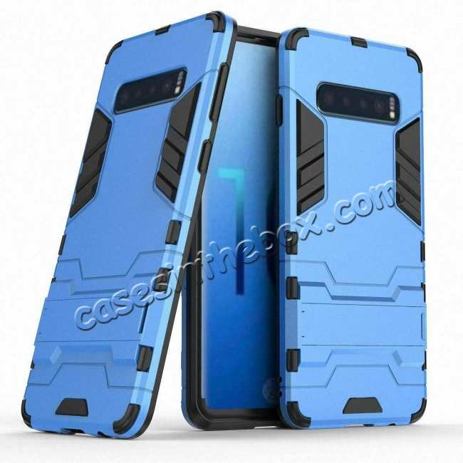 wholesale Shockproof Hybrid Armor Stand Case Cover For Samsung Galaxy S10e - Blue