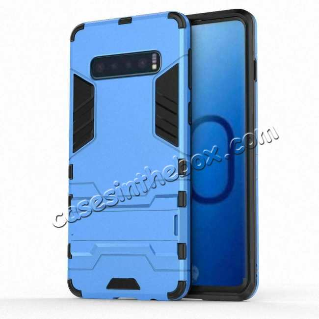 discount Shockproof Hybrid Armor Stand Case Cover For Samsung Galaxy S10e - Blue