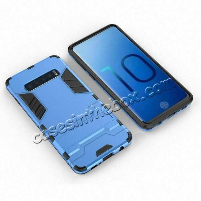 cheap Shockproof Hybrid Armor Stand Case Cover For Samsung Galaxy S10e - Blue