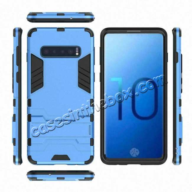 top quality Shockproof Hybrid Armor Stand Case Cover For Samsung Galaxy S10e - Blue