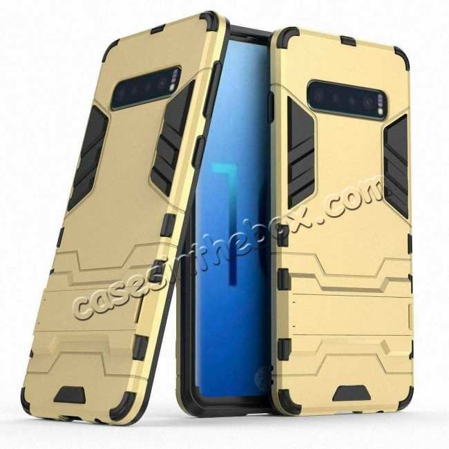 wholesale Shockproof Hybrid Armor Stand Case Cover For Samsung Galaxy S10e - Gold