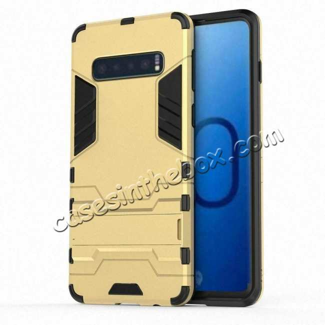 discount Shockproof Hybrid Armor Stand Case Cover For Samsung Galaxy S10e - Gold